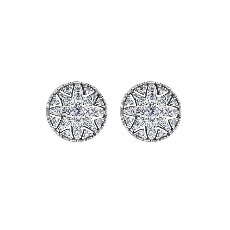 Maple Leaf Diamonds Spring Lily Filigree Stud Earrings