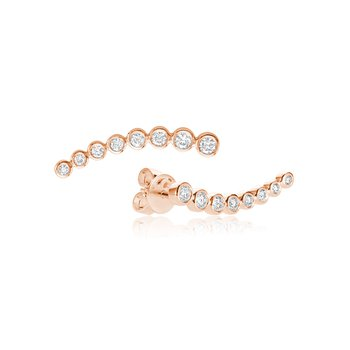 Bezel Set Diamond Curve Climber Earrings