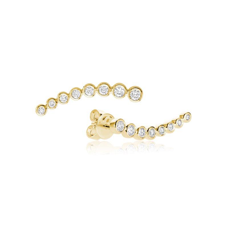 RnB Jewellery Bezel Set Diamond Curve Climber Earrings