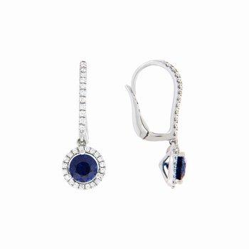 Sapphire Halo Drop Earrings