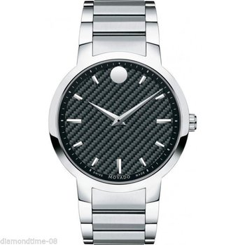 Movado Gravity Black Carbon Fiber Dial Stainless Steel Watch