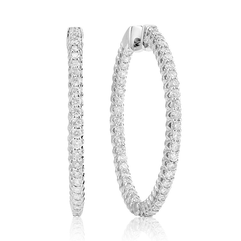 RnB Jewellery Large In and Out Diamond Hoop Earrings