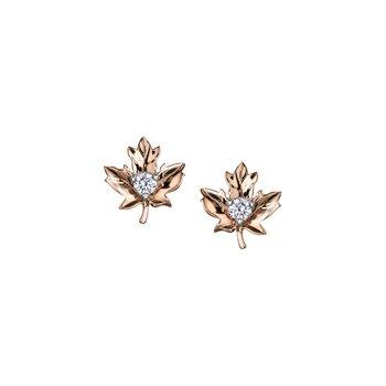 Maple Leaf Diamond Stud Earrings