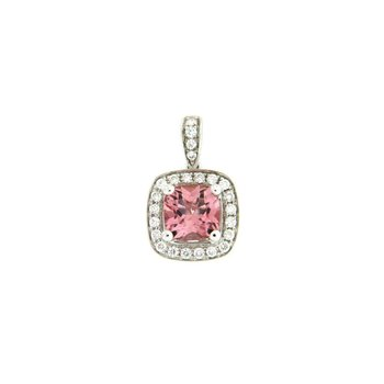 Pink Tourmaline Cushion Halo Pendant