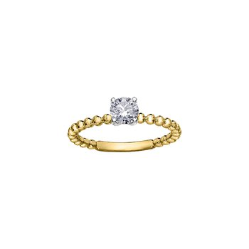 Eternal Flames Beaded Solitaire Ring in Yellow Gold
