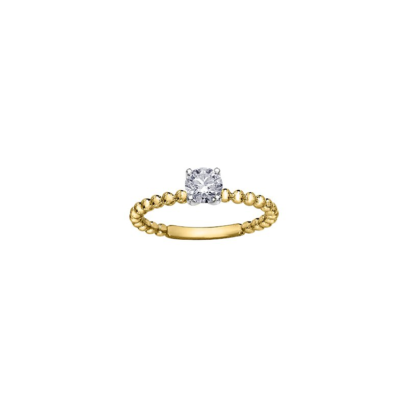 Maple Leaf Diamonds Eternal Flames Beaded Solitaire Ring in Yellow Gold
