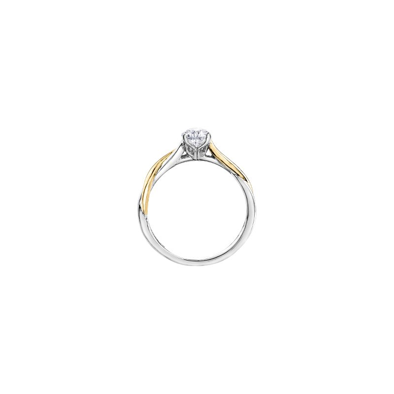 Maple Leaf Diamonds Twist Solitaire Pear Engagement Ring in White and Yellow Gold