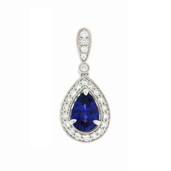 Sapphire Pear Halo Pendant