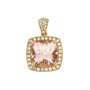 Large Morganite Cushion Halo Pendant