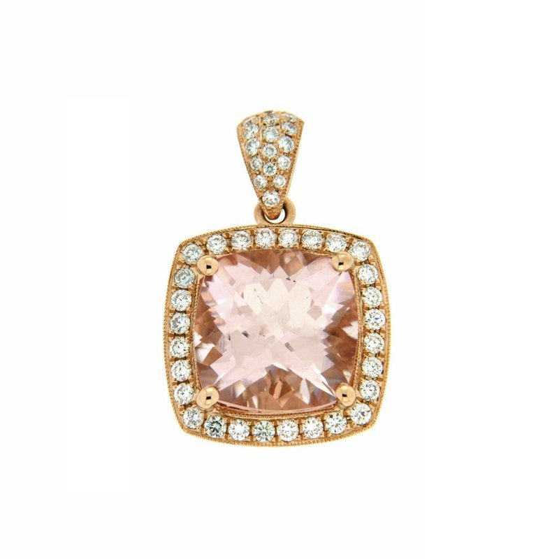 Davidson's Signature Large Morganite Cushion Halo Pendant
