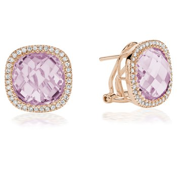 Pink Amethyst and Diamond Stud Earrings