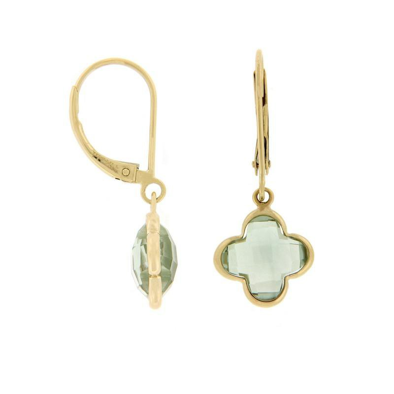 Davidson's Signature Green Quartz Quatrefoil Drop Earrings