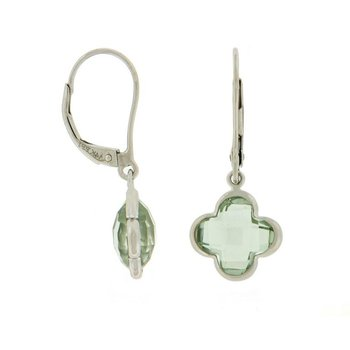Green Quartz Quatrefoil Drop Earrings