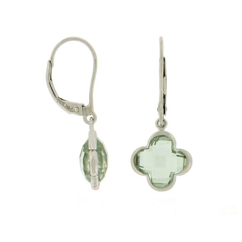 Davidson's Signature Green Quartz Quatrefoil Drop Earrings