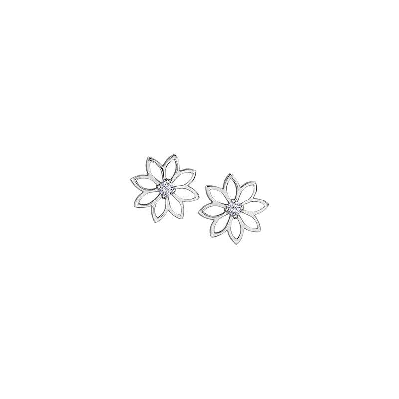 Maple Leaf Diamonds Spring Waterlily Stud Earrings