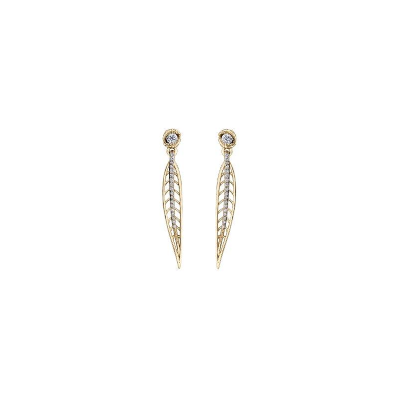 Maple Leaf Diamonds Diamond Leaf Drop Earrings