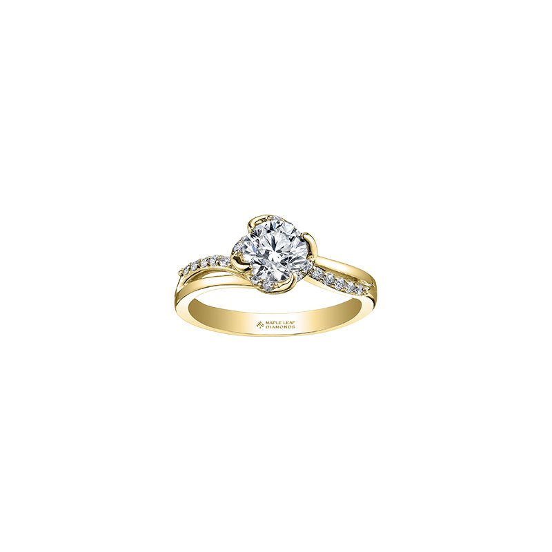 Maple Leaf Diamonds Wind's Embrace Diamond Wrap Round Engagement Ring in Yellow Gold