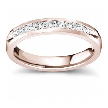 Half Way Channel Set Diamond Band in Rose Gold