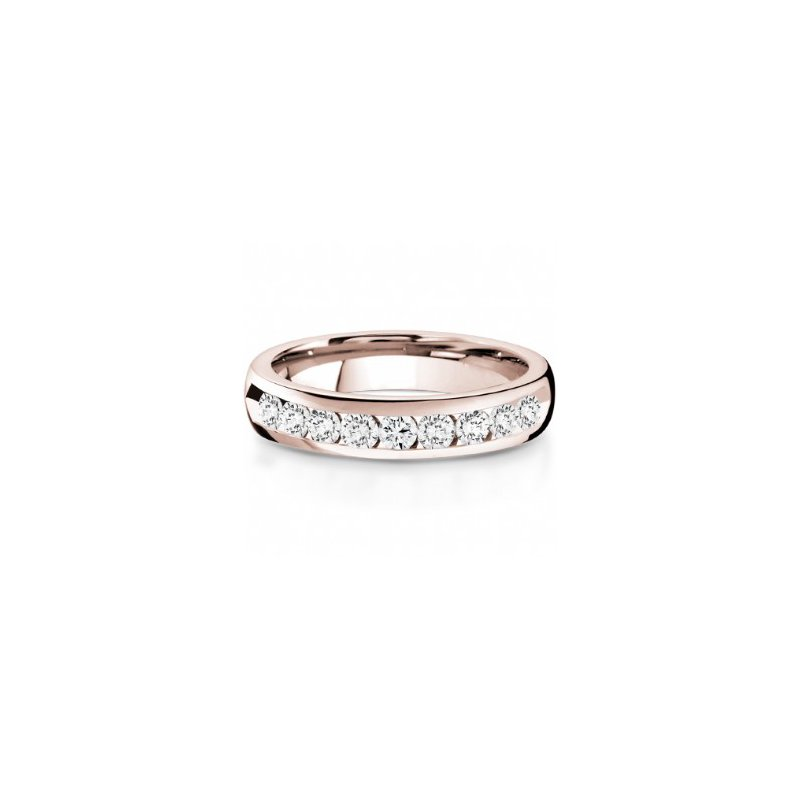 CrownRing Half Way Channel Set Diamond Band in Rose Gold