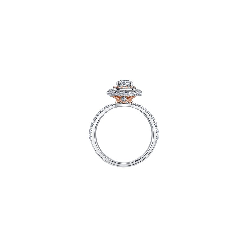 Maple Leaf Diamonds Autumn Engagement Ring in White and Rose Gold
