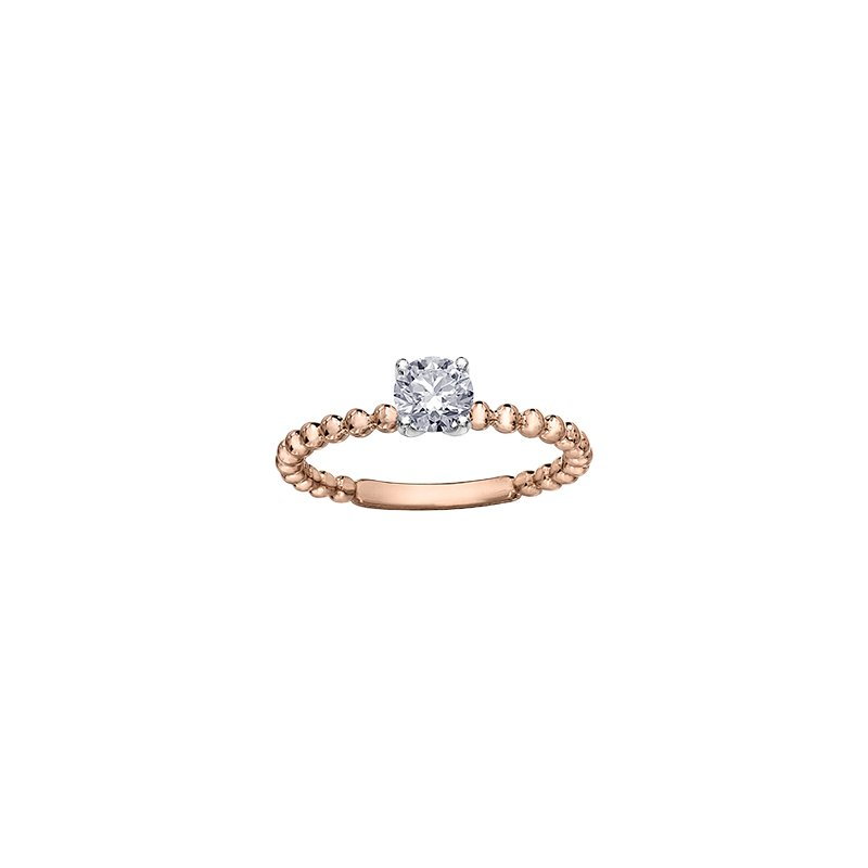 Maple Leaf Diamonds Eternal Flames Beaded Solitaire Ring in Rose Gold