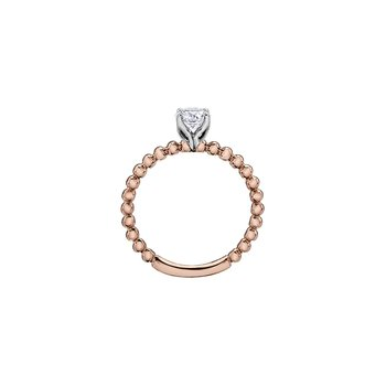 Eternal Flames Beaded Solitaire Ring in Rose Gold