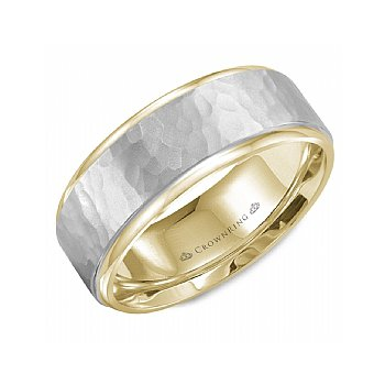 Hammered Centre Two Tone Wedding Band