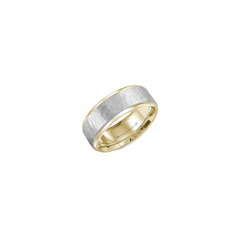 CrownRing Hammered Centre Two Tone Wedding Band
