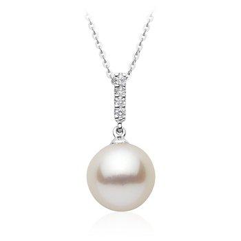 Diamond Line and Pearl Pendant