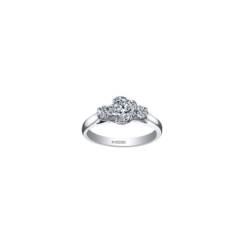 Maple Leaf Diamonds Wind's Embrace Three Stone Engagement Ring