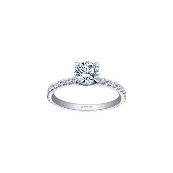 Circle of Love Diamond Set Engagement Ring in White Gold