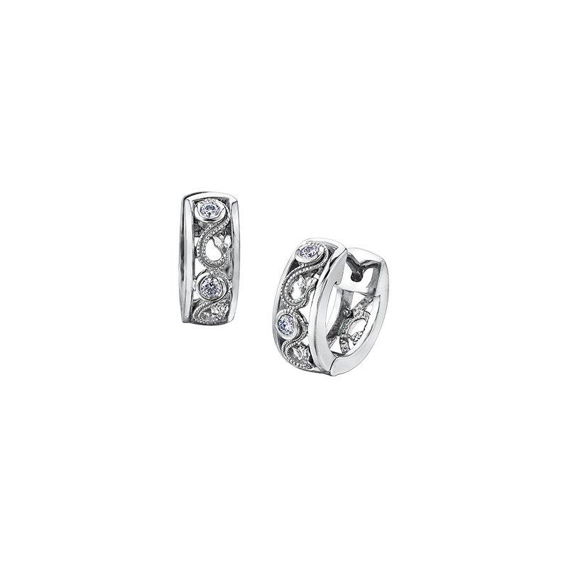 Maple Leaf Diamonds Summer Enchanted Garden Huggie Earrings