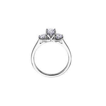 Eternal Flames 3 Stone Engagement Ring in White Gold