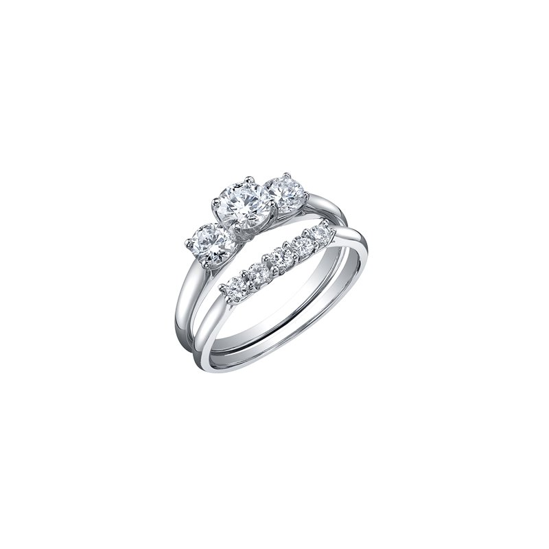 Maple Leaf Diamonds Eternal Flames 3 Stone Engagement Ring in White Gold