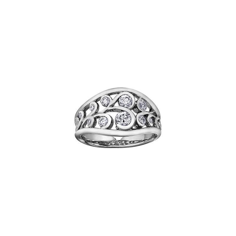 Maple Leaf Diamonds Winter Snowdrift Ring