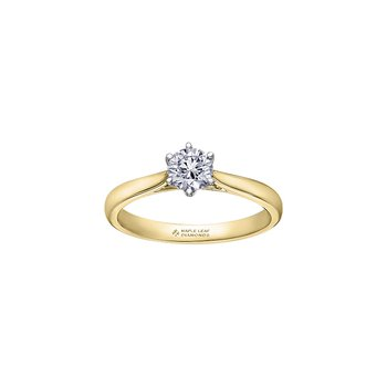 Eternal Flames 6 Prong Solitaire Ring in Yellow Gold