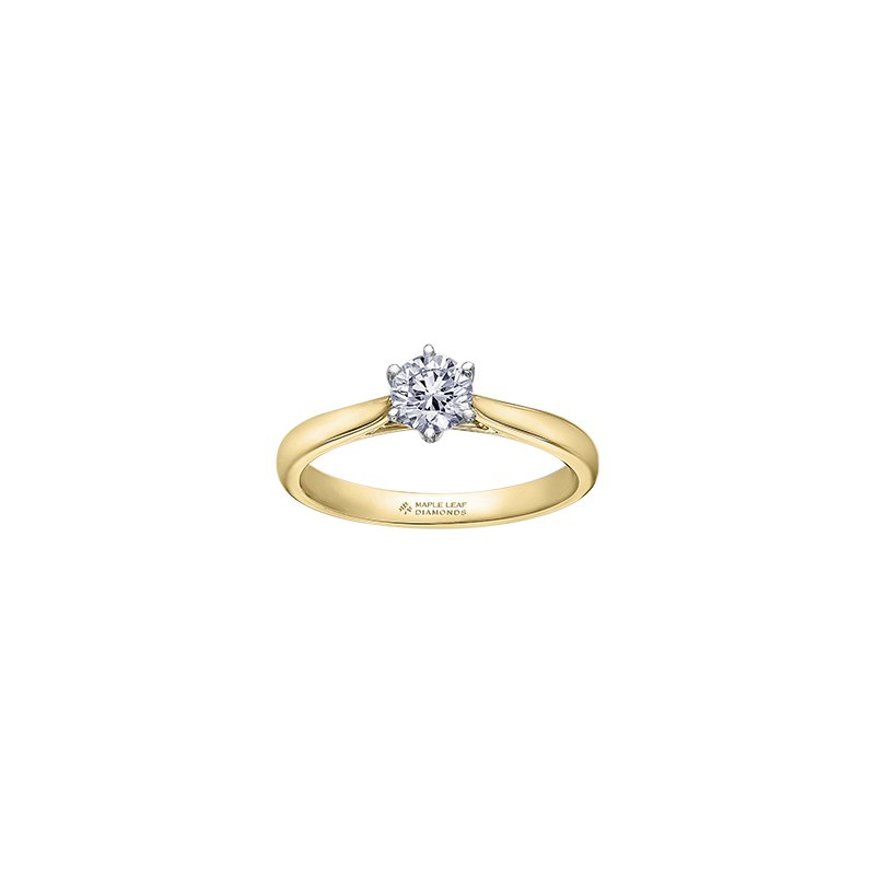 Maple Leaf Diamonds Eternal Flames 6 Prong Solitaire Ring in Yellow Gold