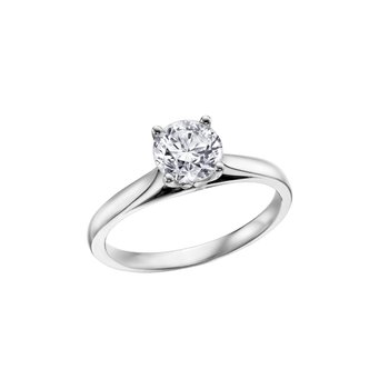 4 Prong Solitaire Engagement Ring in White Gold