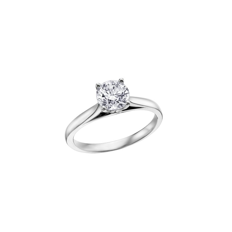 Maple Leaf Diamonds 4 Prong Solitaire Engagement Ring in White Gold