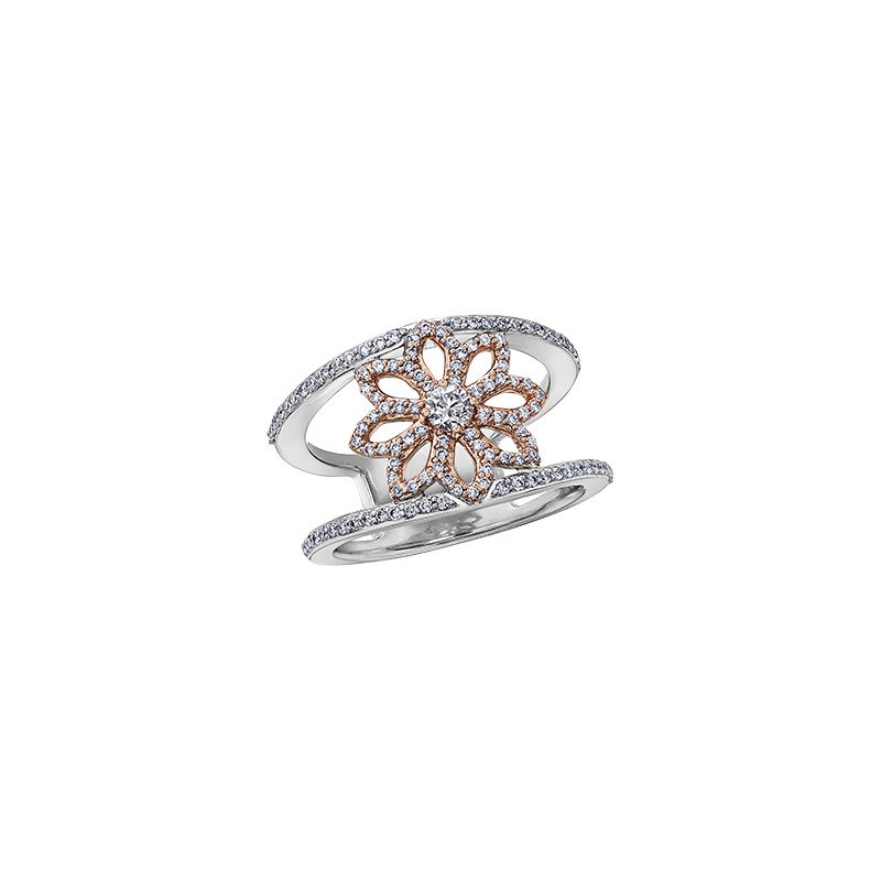 Maple Leaf Diamonds Spring Floating Lily Ring