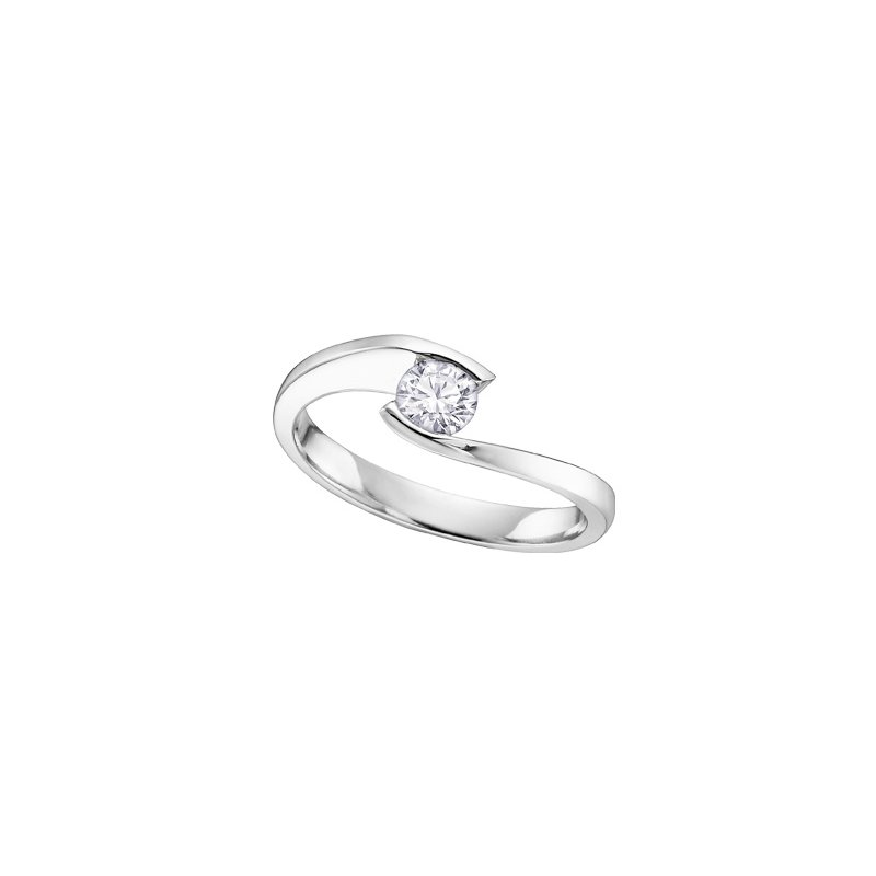 Maple Leaf Diamonds Bypass Solitaire Engagement Ring