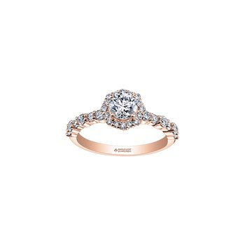Eternal Flames Flower Halo Engagement Ring in Rose Gold