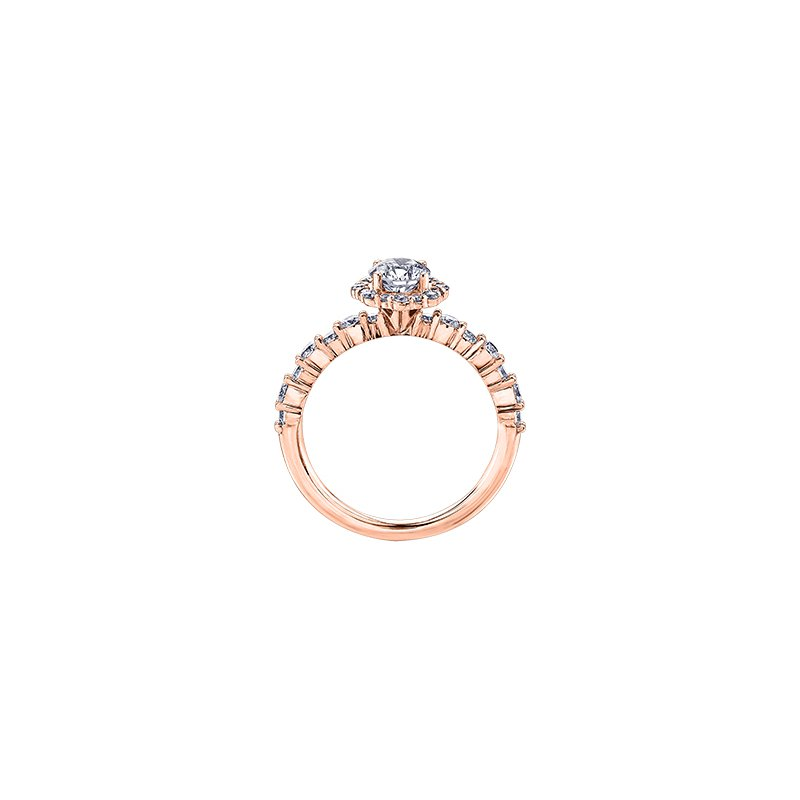 Maple Leaf Diamonds Eternal Flames Flower Halo Engagement Ring in Rose Gold