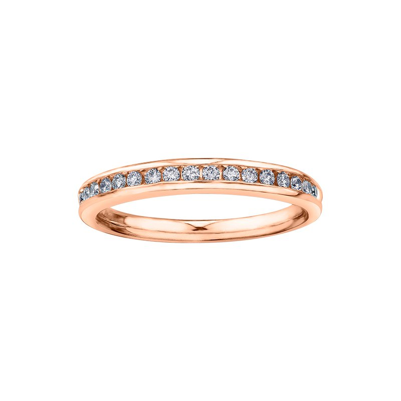 Maple Leaf Diamonds Eternal Flames Split Band Solitaire Ring in Rose Gold