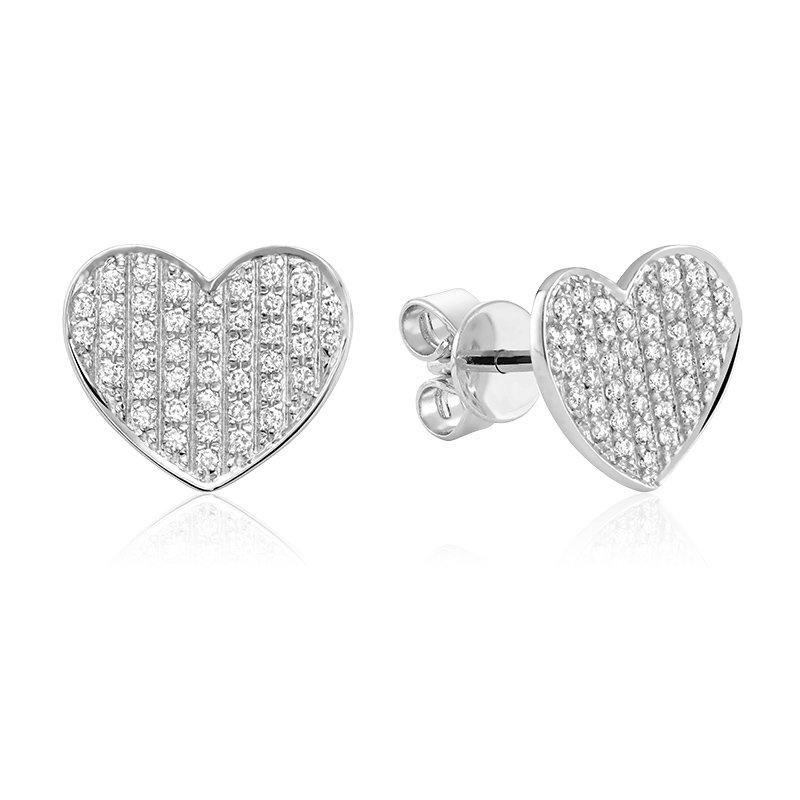RnB Jewellery Pave Diamond Heart Stud Earrings