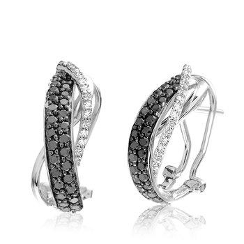 Black and White Diamond Twist Earrings