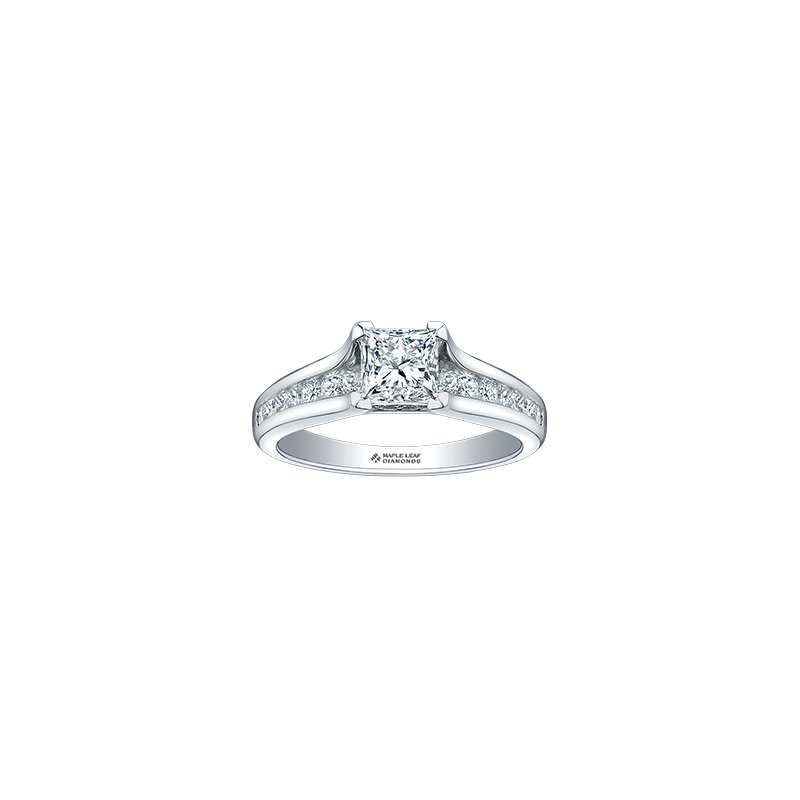 Maple Leaf Diamonds Princess Cut Diamond Engagement Ring with Channel Setting