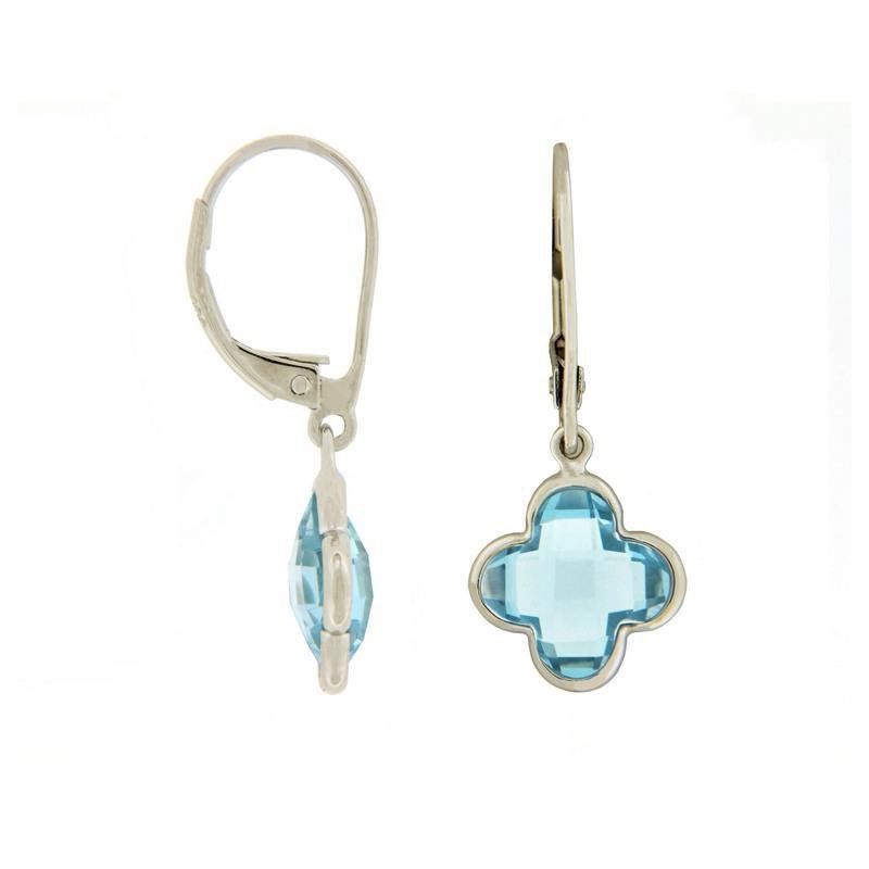 Davidson's Signature Blue Topaz Quatrefoil Drop Earrings