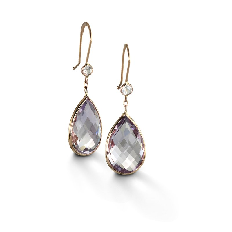 B Couture Pink Amethyst and White Topaz Drop Earrings