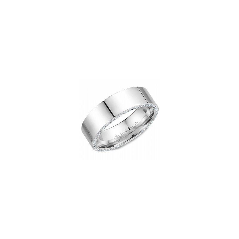 CrownRing Diamond Set Edge Wedding Band with Polished Finish